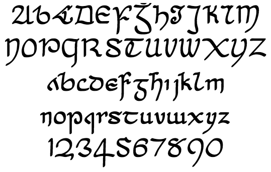 Cianán: 18th century Irish script